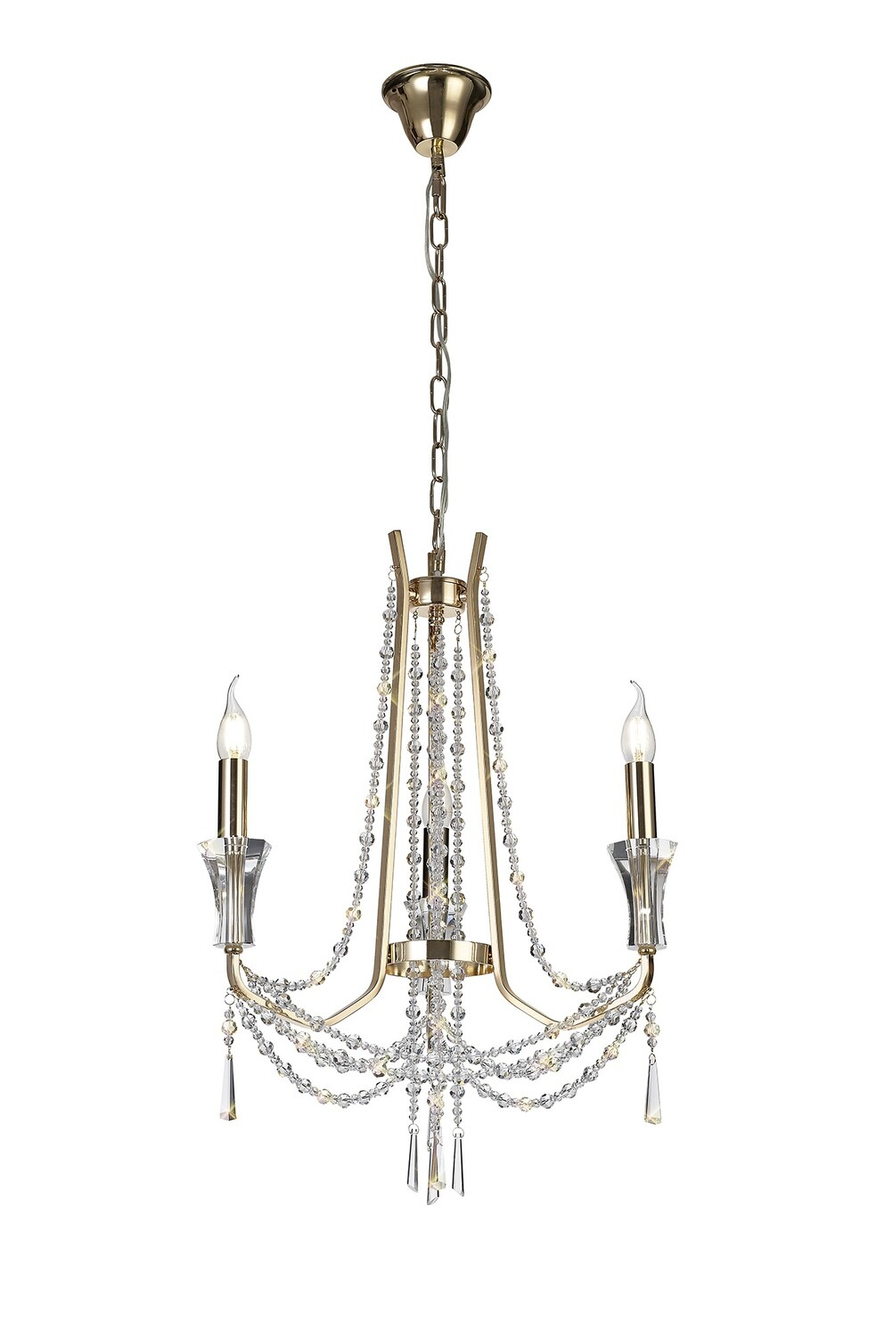 Armand Pendant 3 Light E14 French Gold/Crystal