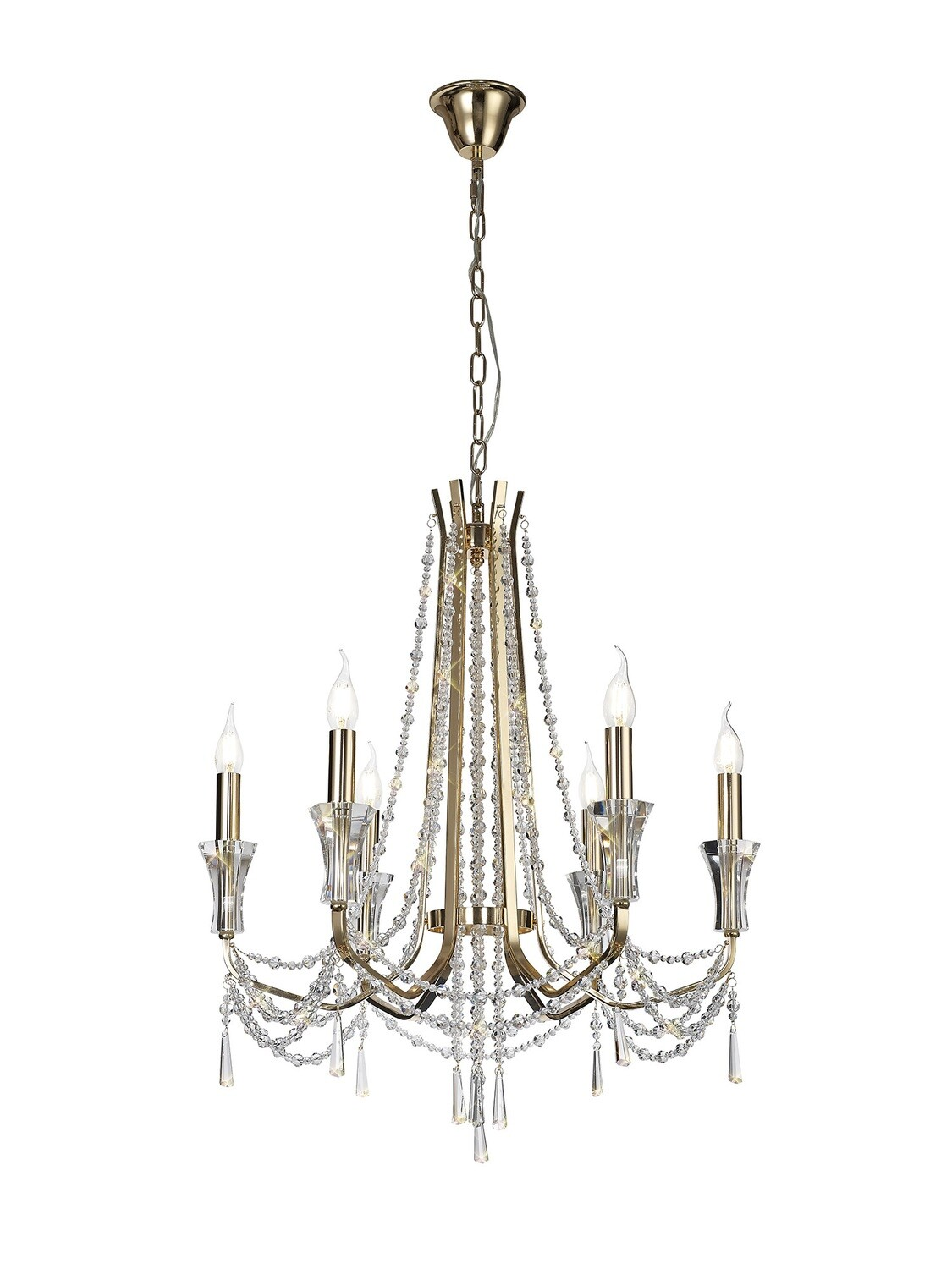 Armand Pendant 6 Light E14 French Gold/Crystal