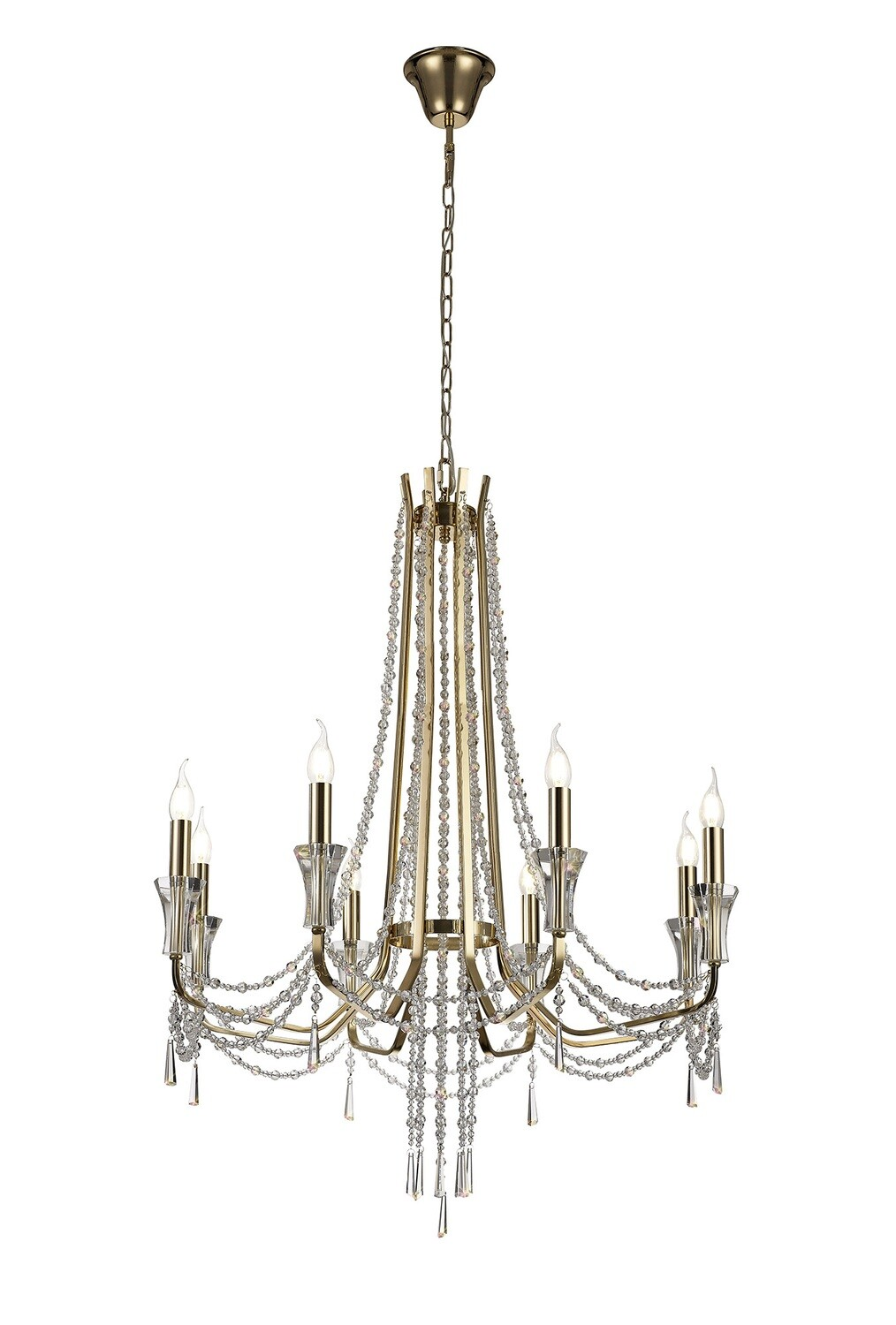 Armand Pendant 8 Light E14 French Gold/Crystal