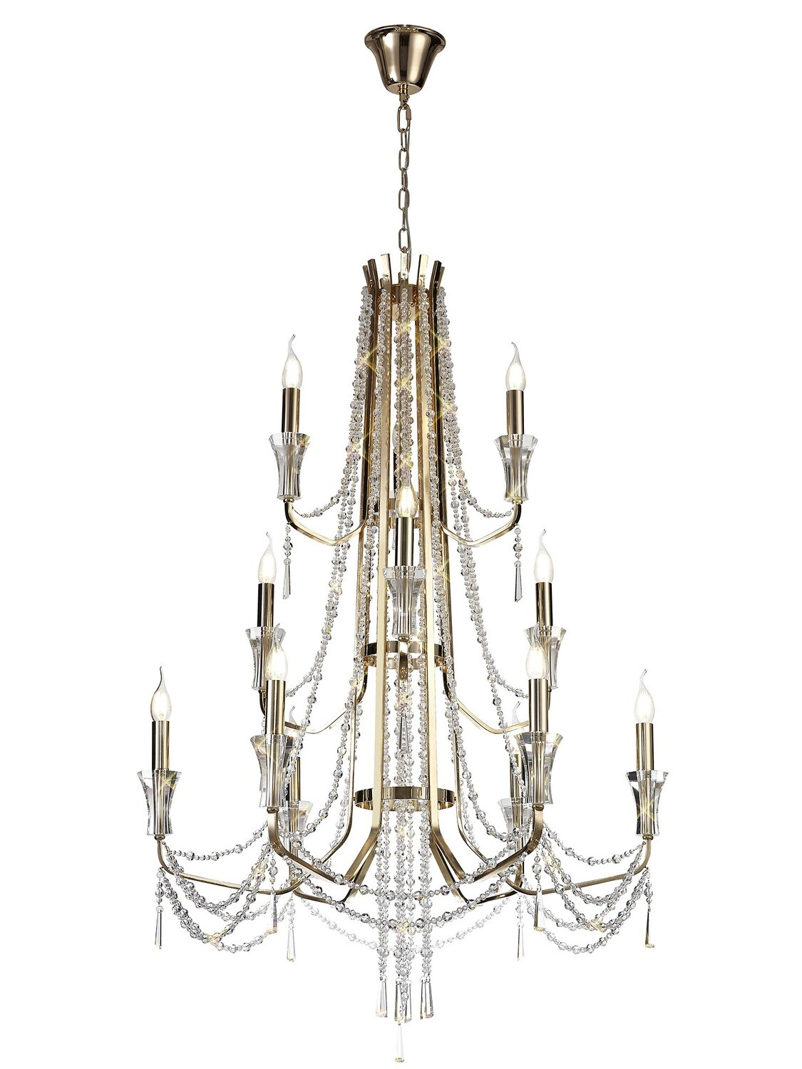 Armand Pendant 6+3+3 Light E14 French Gold/Crystal