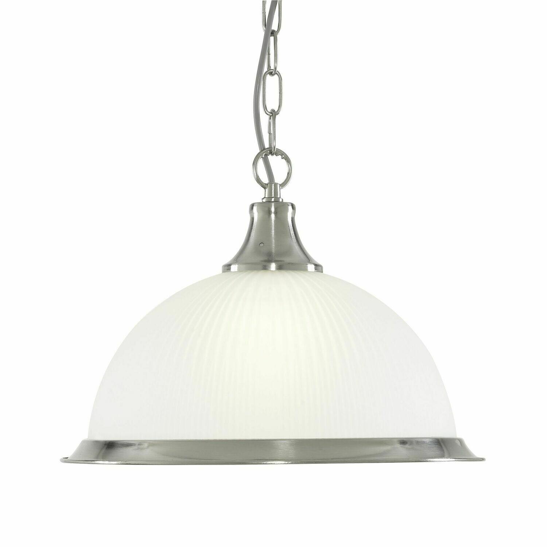 American Diner - 1 Light E27 Pendant, Satin Silver, Acid Glass