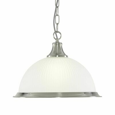 American Diner - 1 Light E27 Pendant, Satin Silver, Acid Glass