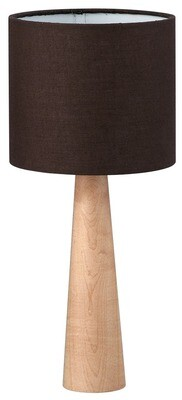 BEECH BASE & BROWN SHADE TABLE LIGHT