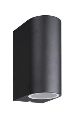 Kandanchu round Outdoor Wall Lamp up&down light, 2 x GU10, IP54, Sand Black