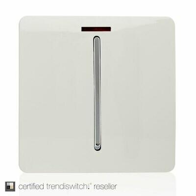 Trendi, Artistic Modern 45 Amp Neon Insert Double Pole Switch Gloss White Finish, BRITISH MADE, 5yrs warranty