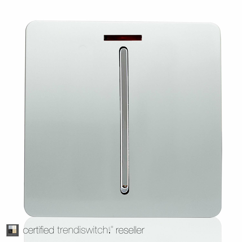 Trendi, Artistic Modern 45 Amp Neon Insert Double Pole Switch Silver Finish, BRITISH MADE, 5yrs warranty