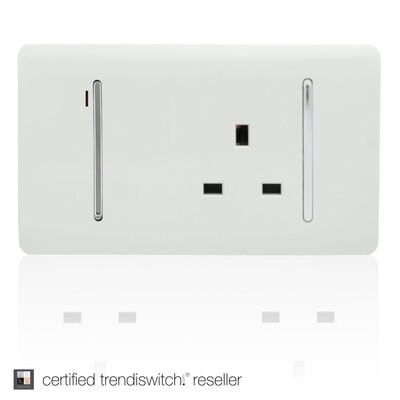 Trendi, Artistic Modern Cooker Control Panel 13amp with 45amp Switch Gloss White Finish, BRITISH MADE, 5yrs warranty