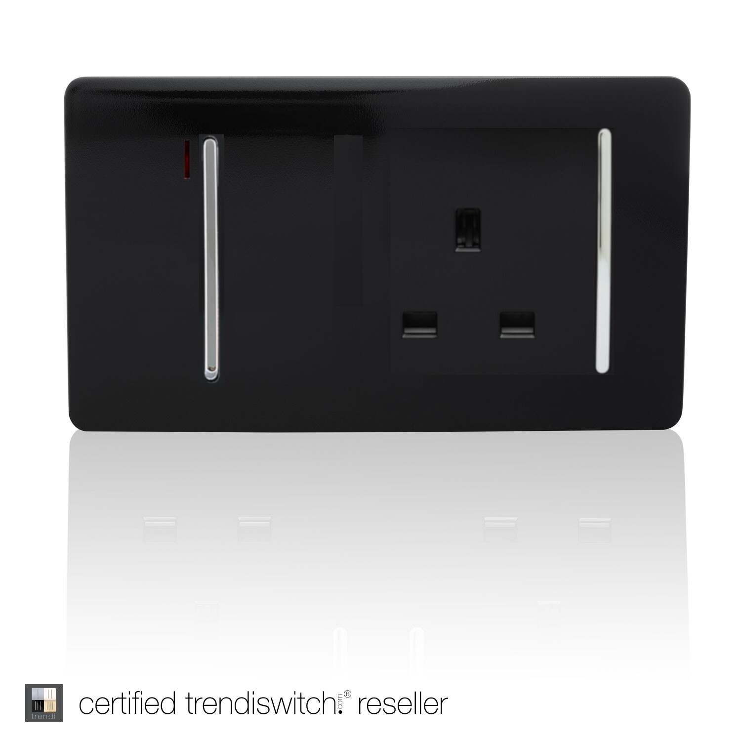Trendi, Artistic Modern Cooker Control Panel 13amp with 45amp Switch Gloss Black Finish, BRITISH MADE, 5yrs warranty