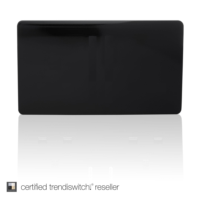 Trendi, Artistic Modern Double Blanking Plate, Gloss Black Finish, BRITISH MADE, 5yrs warranty