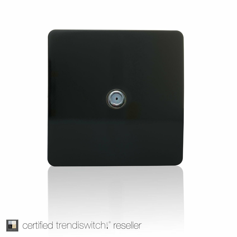 Trendi, Artistic Modern F-Type Satellite 1 Gang Gloss Black Finish, BRITISH MADE, 5yrs warranty