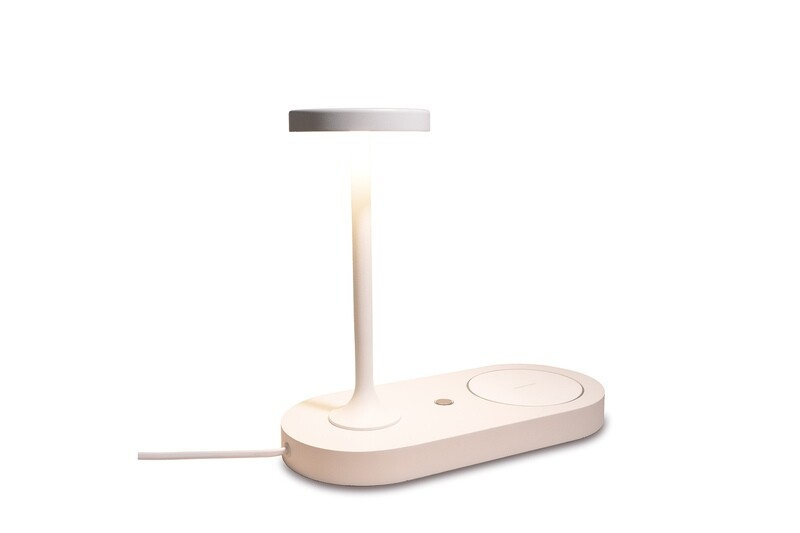 Ceres Table Lamp With Mobile Phone Induction Charger & USB Charger, 6W LED, 3000K, 450lm, White