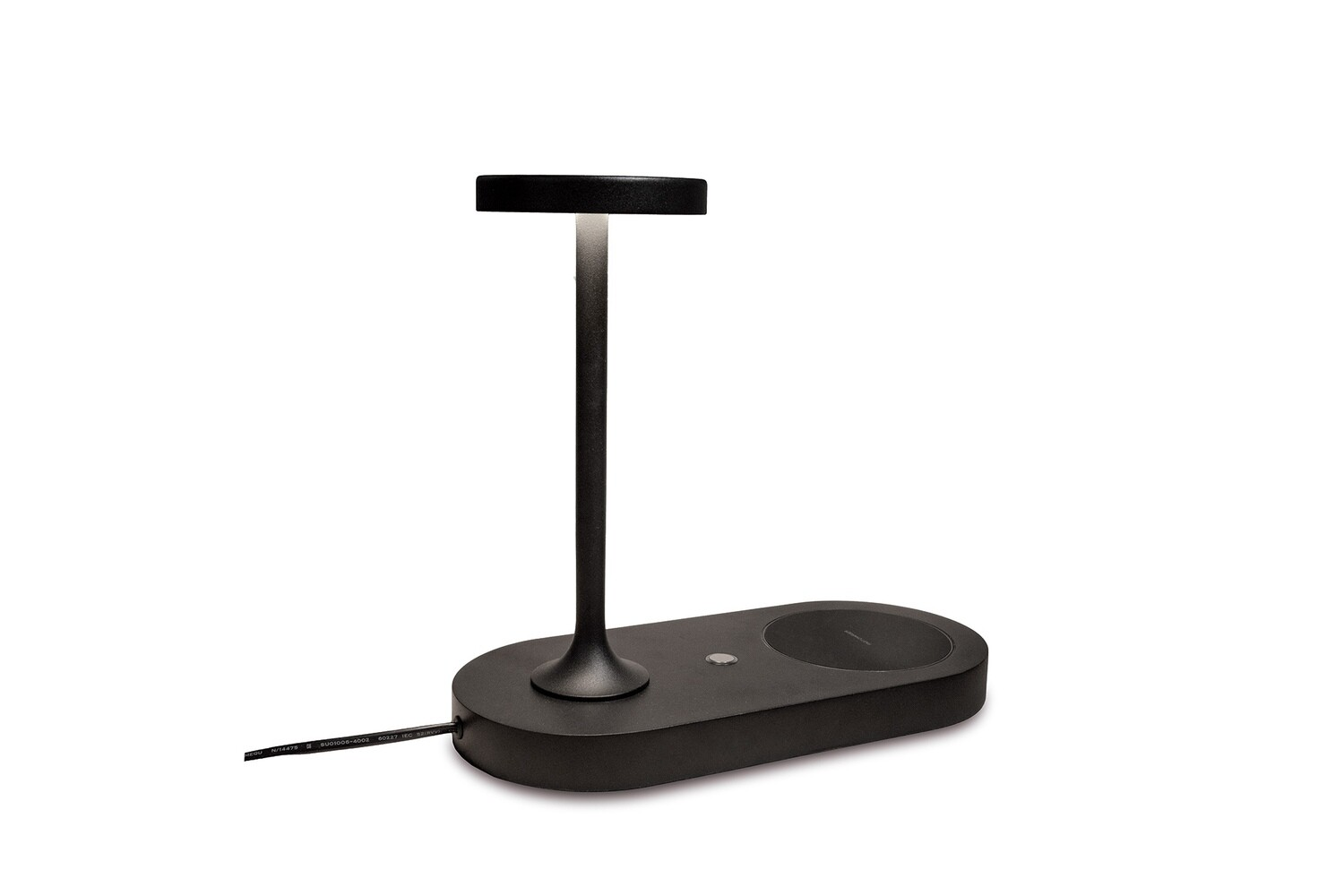 Ceres Table Lamp With Mobile Phone Induction Charger & USB Charger, 6W LED, 3000K, 450lm, Black