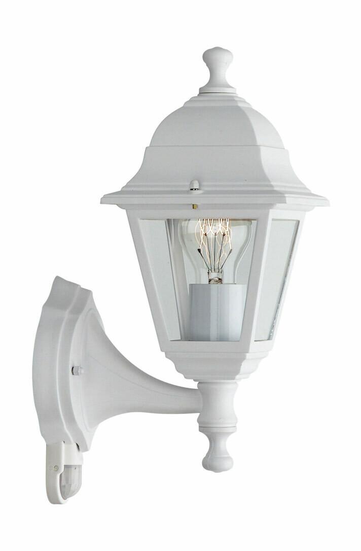 Lima Wall Lamp with PIR 1 Light E27 IP44 Exterior White Aluminium/Glass