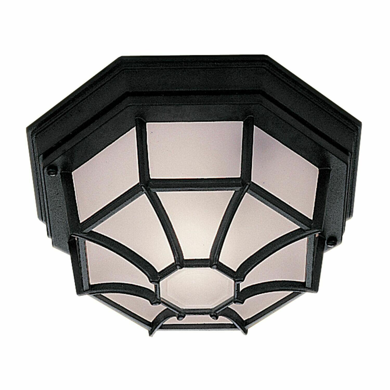 Outdoor & Porch - 1xE27 Black Flush Light