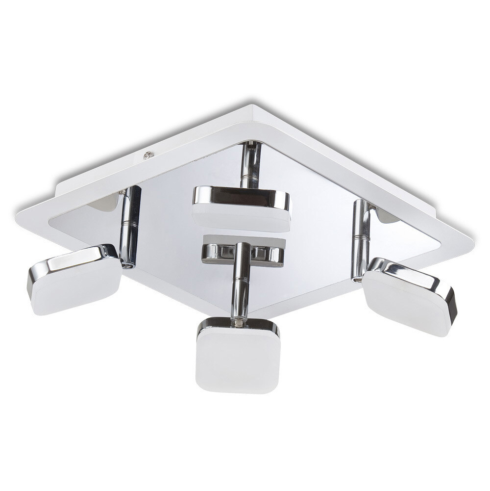 Gio Spot Light 4 Light 20W LED Square 3000K, 1750lm, Polished Chrome/Frosted Acrylic