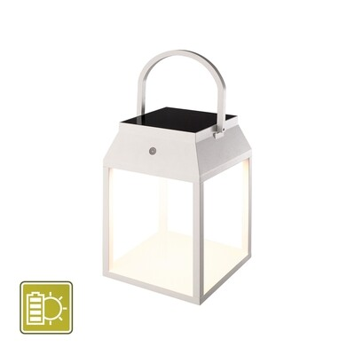Sapporo Small Solar Portable Lantern, 3W LED, 3000K, 238lm, IP54, White