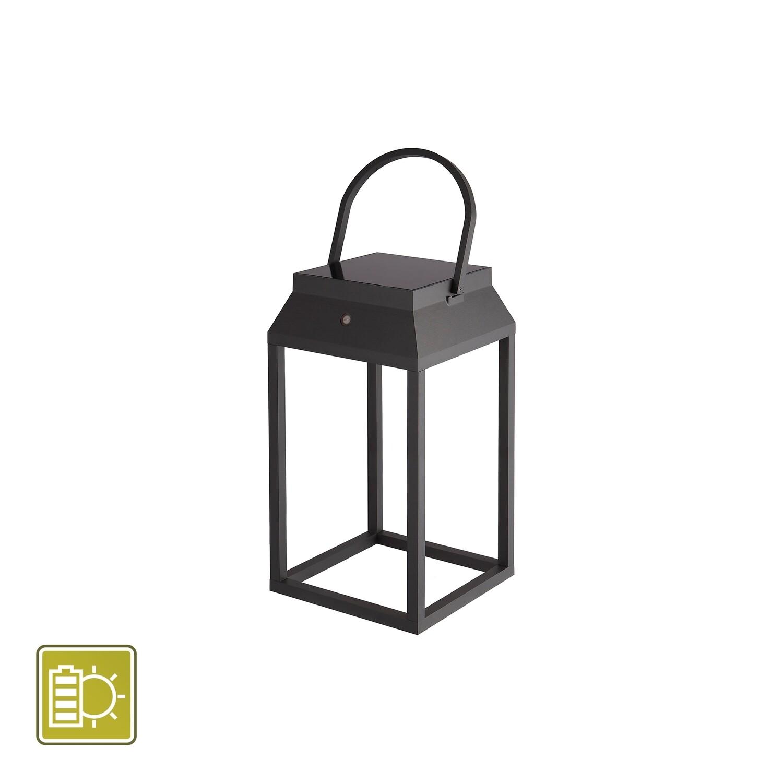 Sapporo Large Solar Portable Lantern, 3W LED, 3000K, 238lm, IP54, Graphite