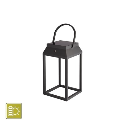 Sapporo Large Solar Portable Lantern, 3W LED, 3000K, 238lm, IP54, Graphite