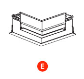 kush lighting system linear track 24V accessory recessed with trim horizontal corner
