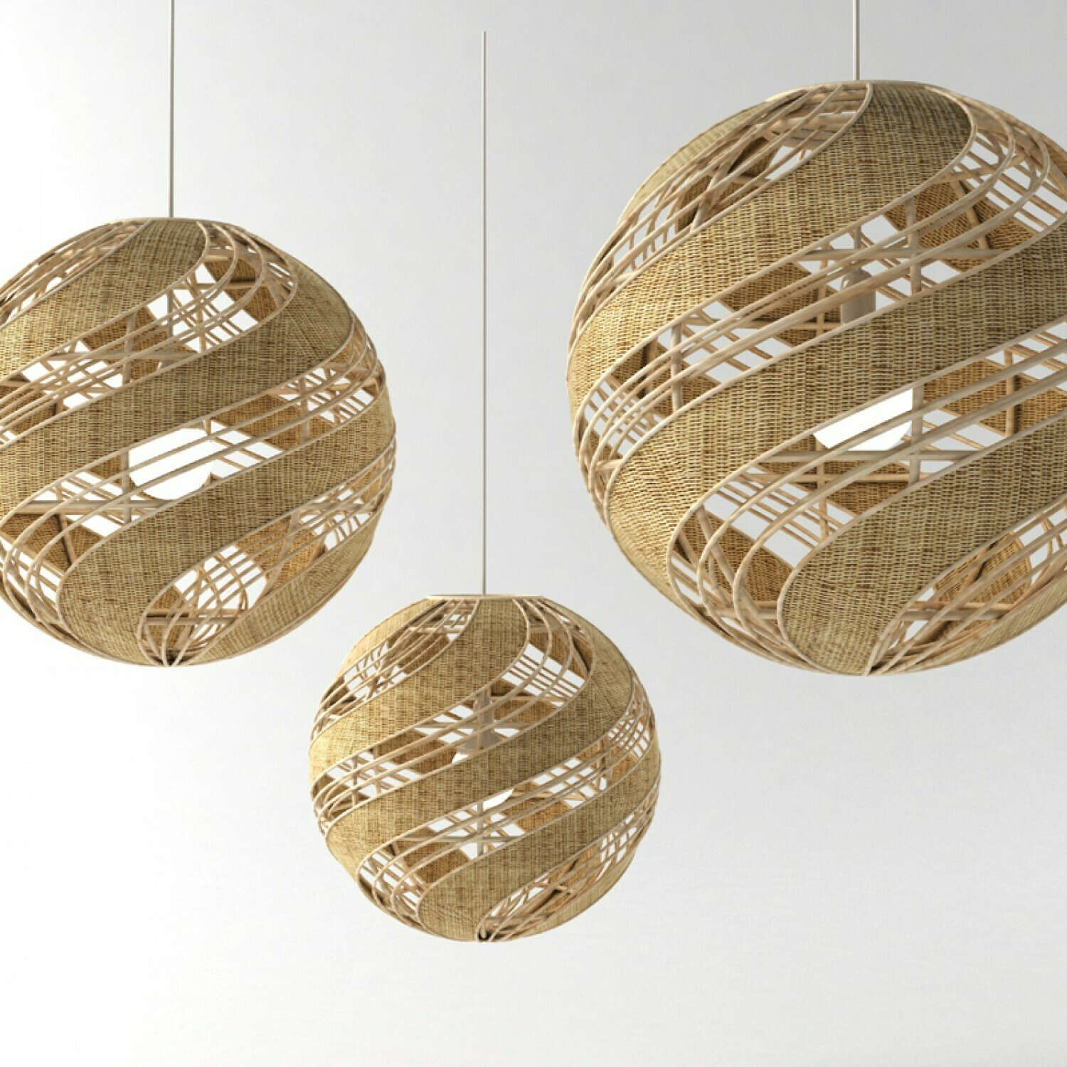 PEONY DOUBLE WAVE Natural Rattan pendant  1xE27