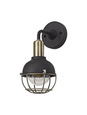 Kodu Wall Lamp, 1 Light E27, IP65, Matt Black/Brushed Bronze