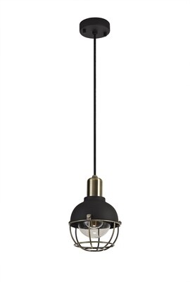 Kodu Pendant, 1 Light E27, IP65, Matt Black/Brushed Bronze