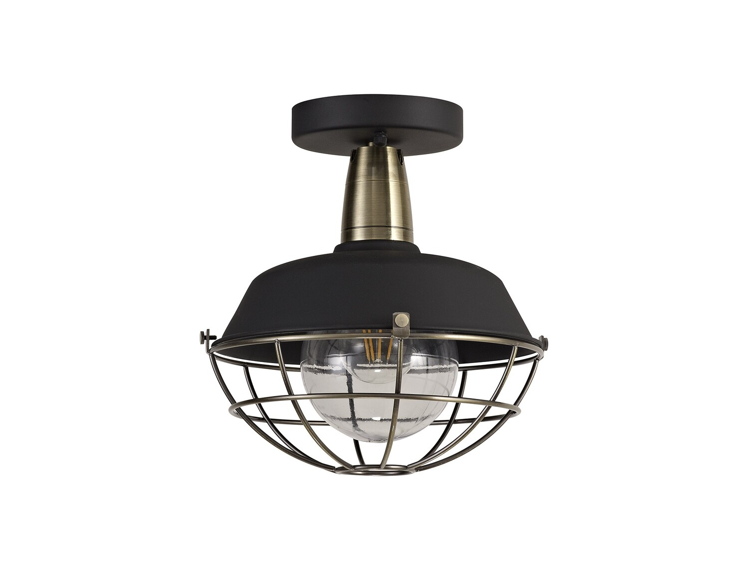 Mudita Semi-Flush Ceiling, 1 Light E27, IP65, Matt Black/Antique Brass