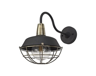 Mudita Wall Lamp, 1 Light E27, IP65, Matt Black/Antique Brass