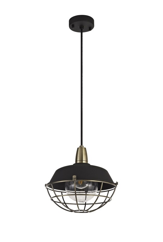 Mudita Pendant, 1 Light E27, IP65, Matt Black/Antique Brass