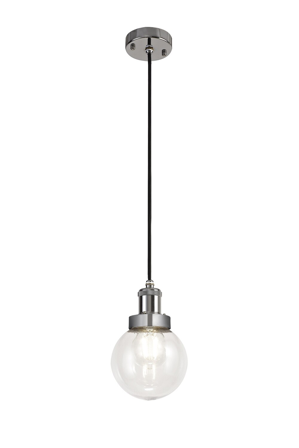 Juliet Pendant 1 Light E27 IP65 Exterior Titanium Silver/Polished Chrome