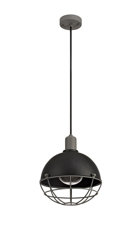 Rami Pendant, 1 Light E27, IP65, Matt Black/Grey