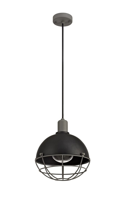 Rami Pendant, 1 Light E27, IP65, Matt Black/Grey