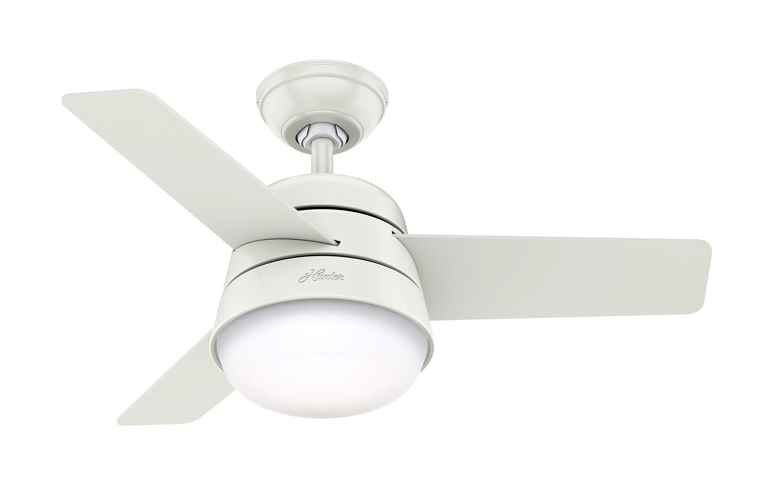 HUNTER FINLEY 91 WE ceiling fan Ø91 cm Fresh White with Fresh White/Natural Wood blades with remote control and light kit included