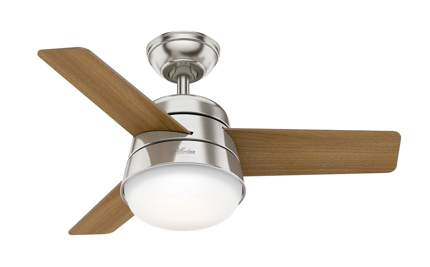 HUNTER FINLEY 91 BN ceiling fan Ø91 cm Fresh White with Fresh Walnut / Natural Wood blades with remote control and light kit included
