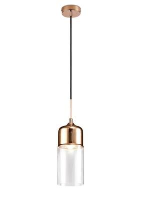 Mia Single Tube Pendant 1 Light E27 Copper/Clear Glass
