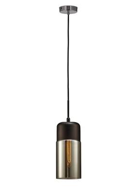 Mia Single Tube Pendant 1 Light E27 Polished Chrome/Black/Smoke Glass