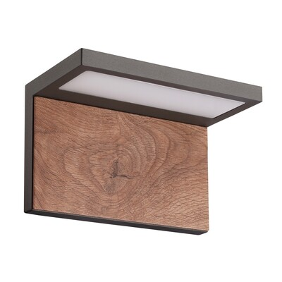 Ruka Wall lamp, 13W LED, 3000K, 850lm, IP54, Anthracite/Walnut