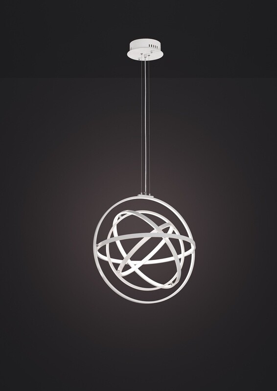 Orbital Pendant Round 60cm, 4 Ring, 90W LED 3000K, 3250lm, RF Remote Control, White