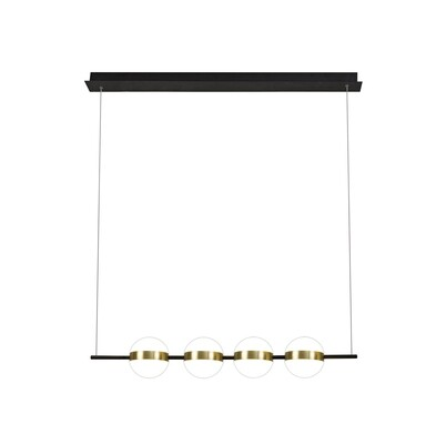 Cuba Linear Pendant 4 Light, 32W LED, 3000K, 2400lm, Gold/Black