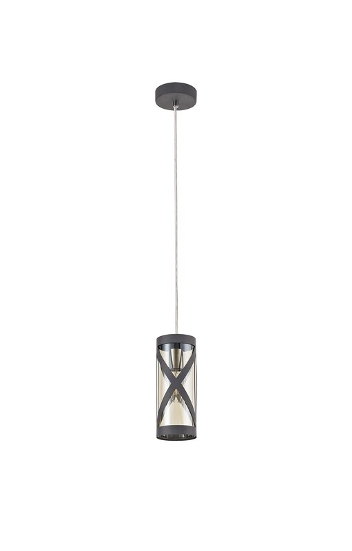 Bunji 1 Light Pendant E14, Matt Grey/Polished Chrome/Cognac