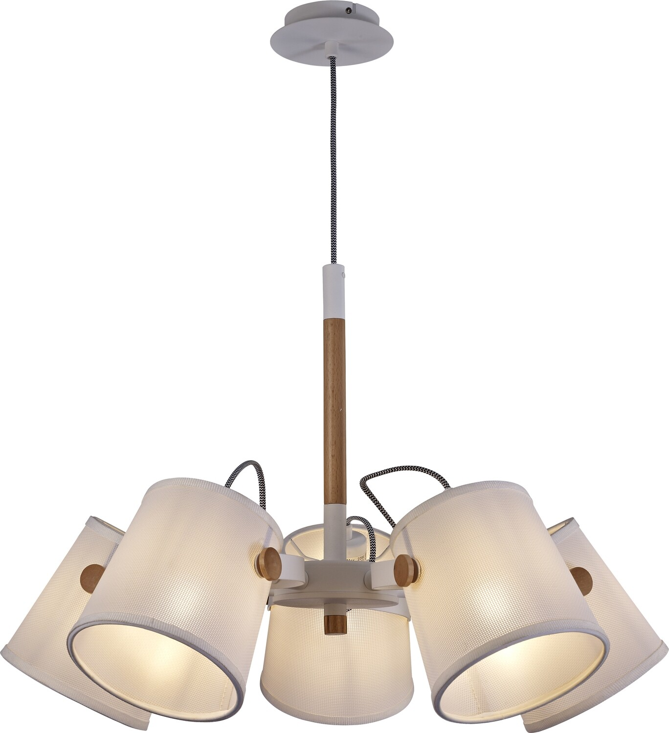 Nordica II Position Pendant 5xE27, White/Beech With Ivory Shades