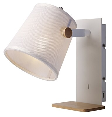 Nordica II Position Wall Light With USB Socket, 1xE27, White/Beech With White Shade