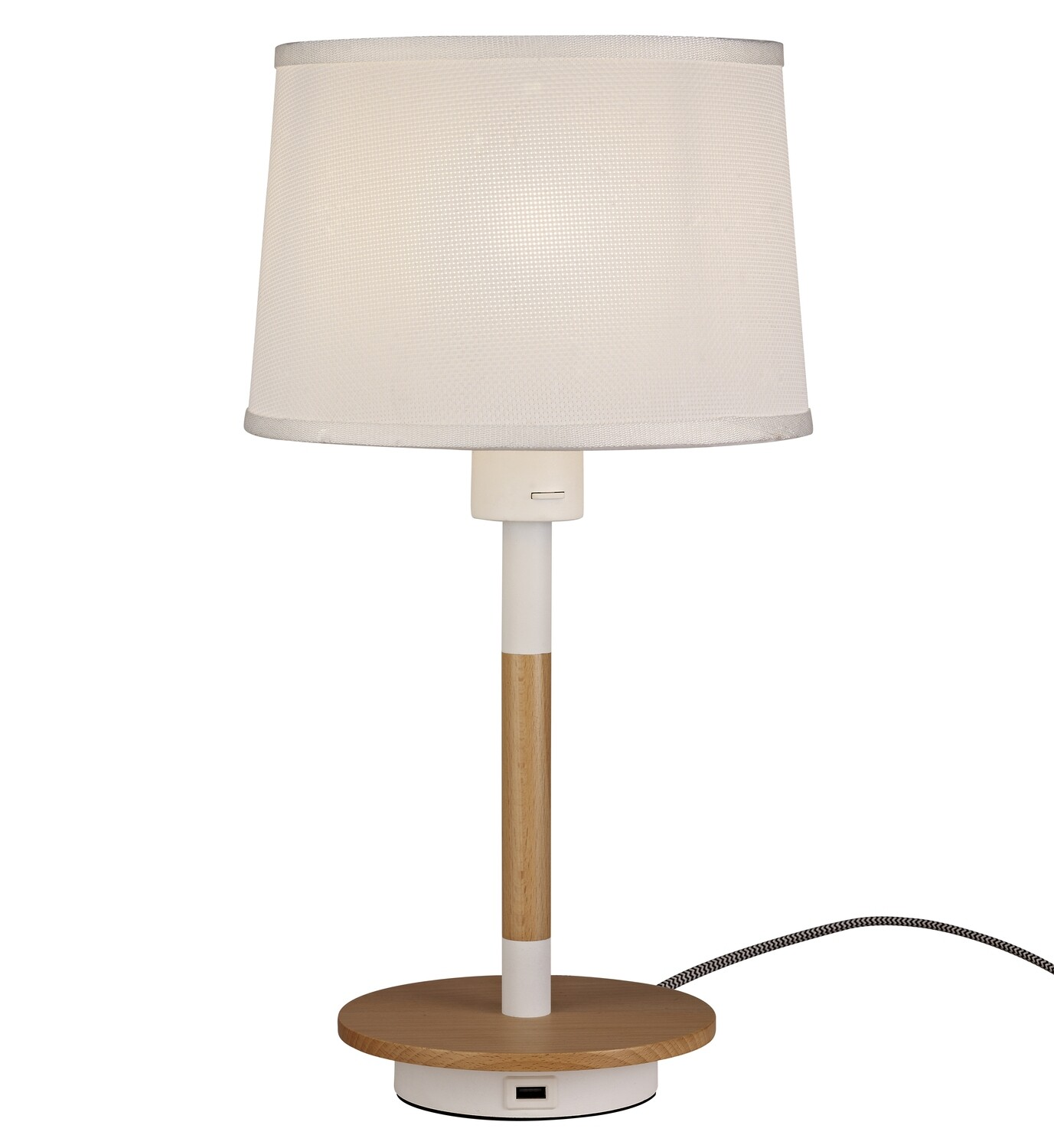 Nordica II Table Lamp With USB Socket, 1xE27, White/Beech With White Shade