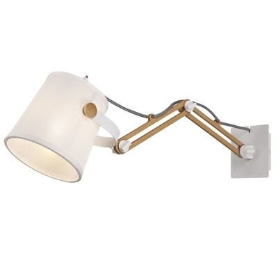 Nordica II Position Extendable Wall Light, 1xE27, White/Beech With White Shade