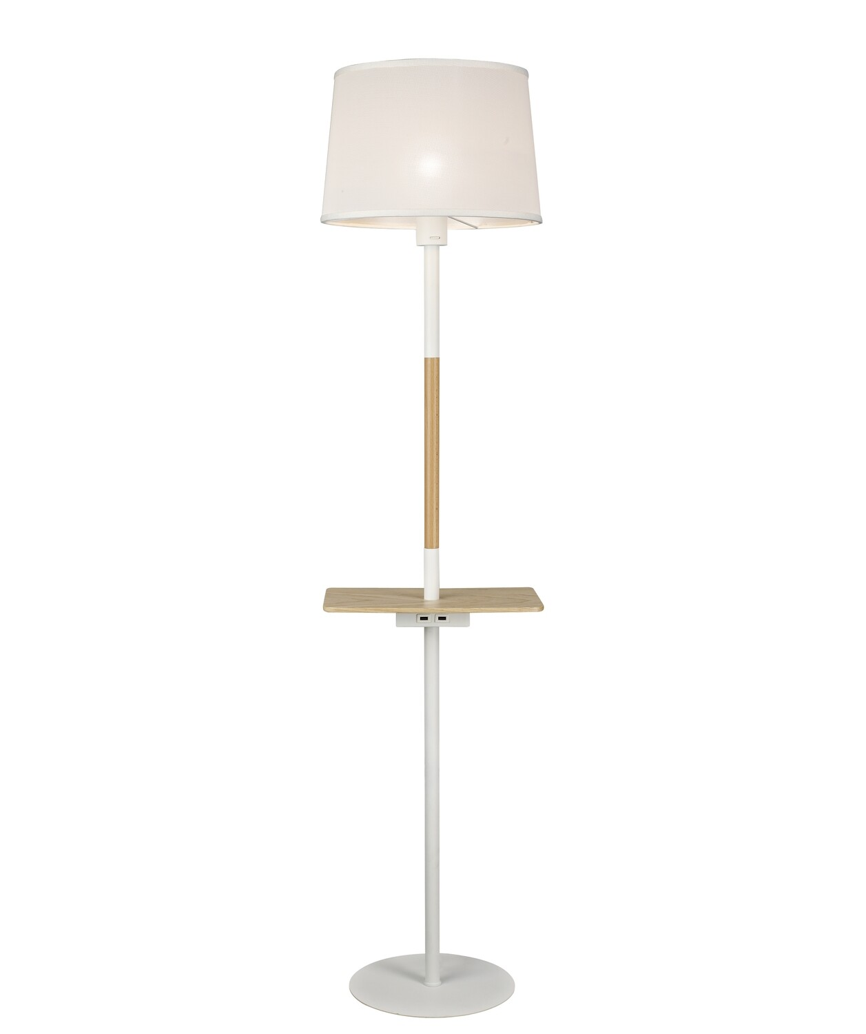 Nordica II Floor Lamp With USB Socket, 1xE27, White/Beech With White Shade