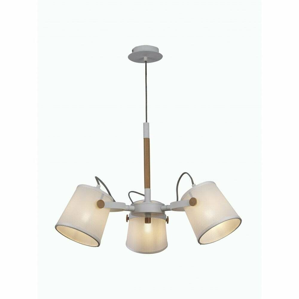 Nordica II Position Pendant 3xE27, White/Beech With Ivory Shades