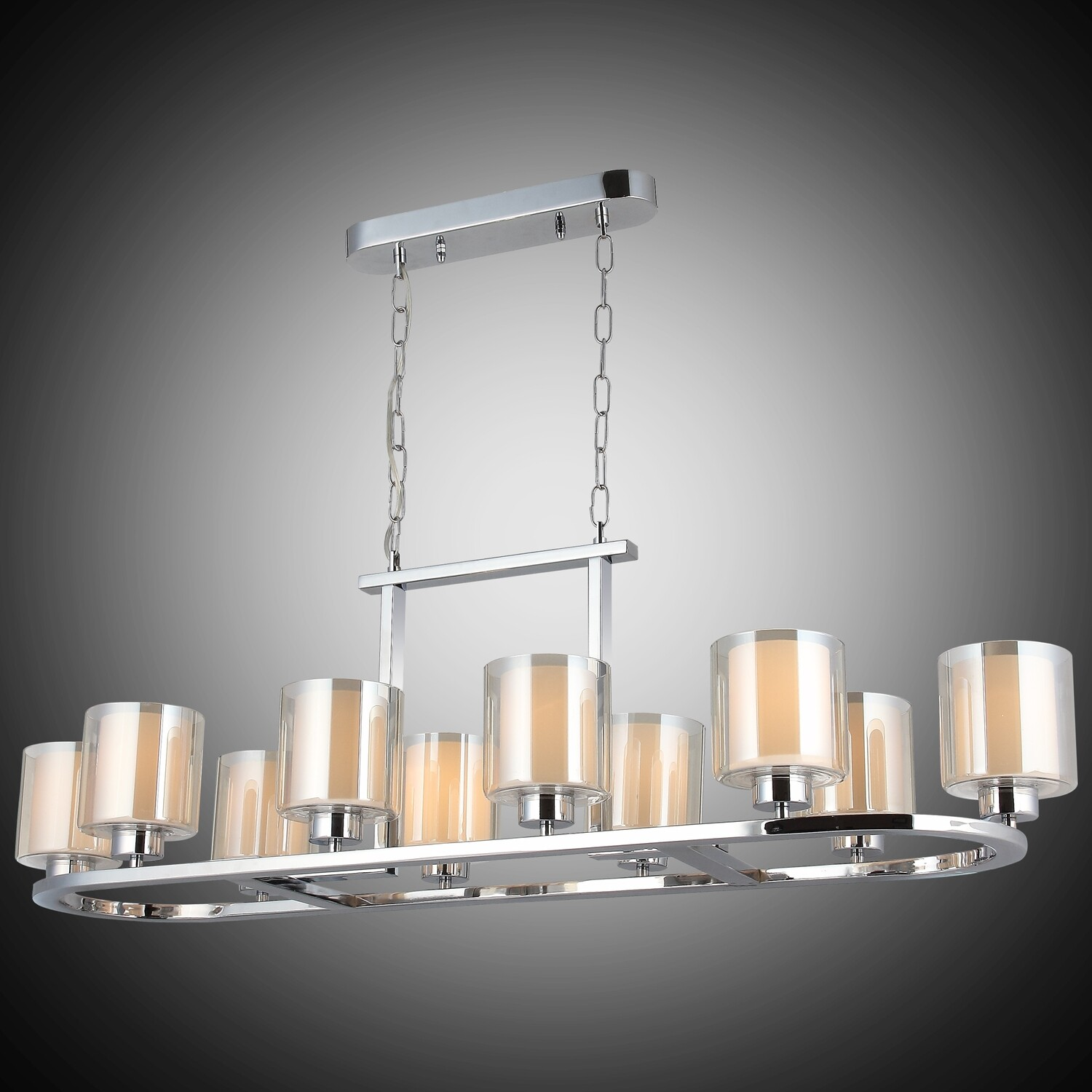 VODA 10 LIGHT LONG CHANDELIER CHROME 10xE27