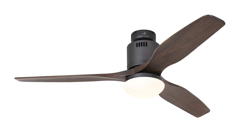 AERODYNAMIX ECO BG energy saving ceiling fan by CASAFAN Ø132  with light kit and remote control included - Basalt Grey /Walnut