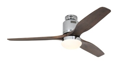 AERODYNAMIX ECO CH energy saving ceiling fan by CASAFAN Ø132  with light kit and remote control included - Polished Chrome / Walnut