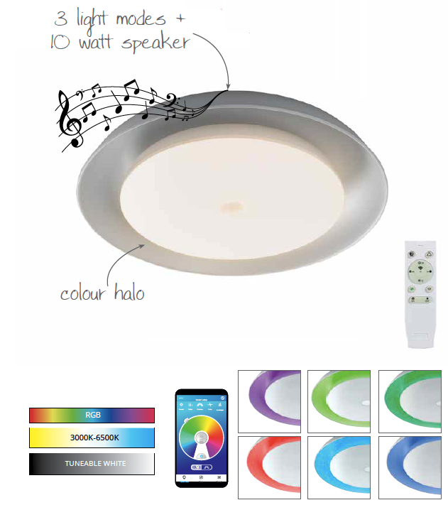 Glasgo Ceiling, 1 x 36W LED RGB, Tuneable White 3000K-6000K, 1800lm, 10W Speaker, Bluetooth/Remote Control/App Control
